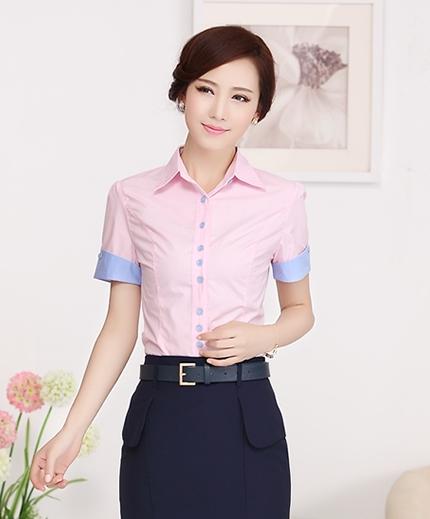 เสื้อเชิ้ตทำงานแขนสั้น สีชมพูโอรส