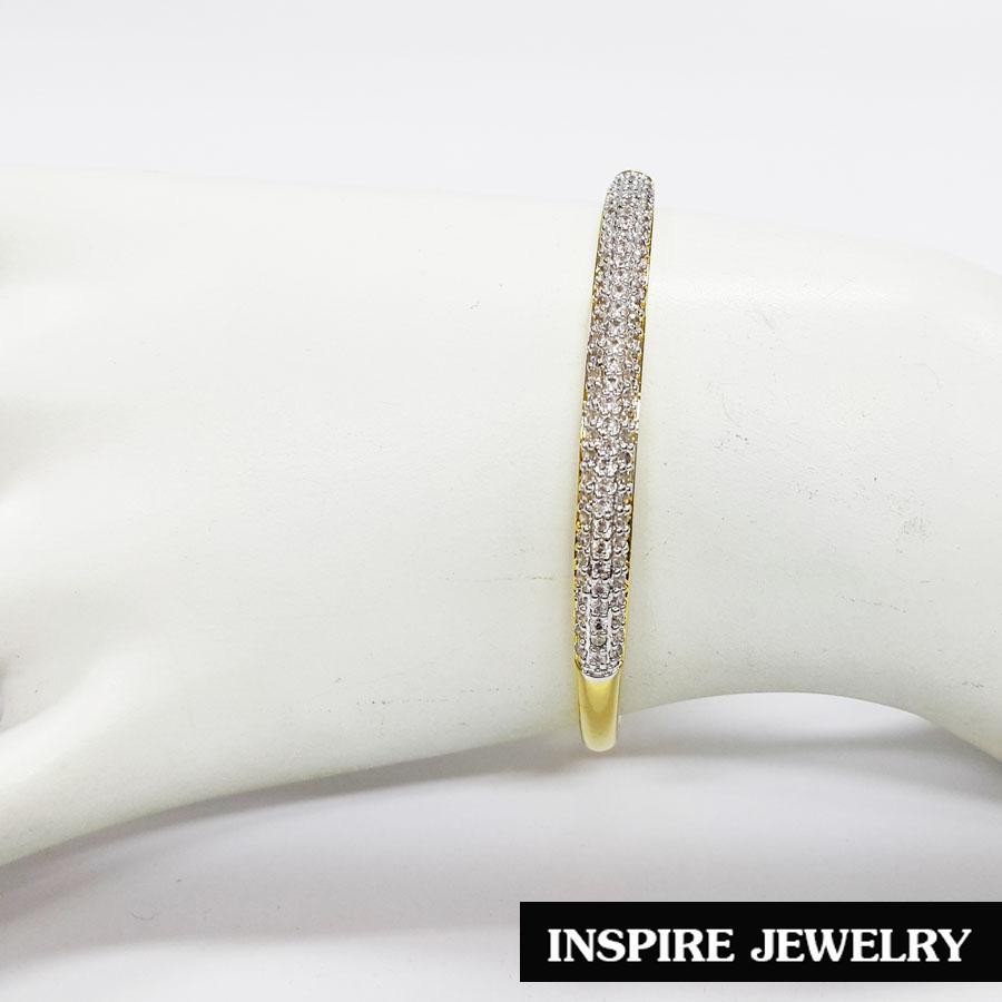 Inspire Jewelry ,กำไล Design ฝังเพชรสวิส งานจิวเวลลี่ ตัวเรือนหุ้มทองแท้100% 24K พร้อมถุงกำมะหยี่