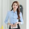เสื้อเชิ้ตผู้หญิงแขนยาว สีฟ้า คอประดับพลอย (ถอดได้) เป็นชุดทำงานชุดยูนิฟอร์มเรียบหรู
