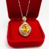 Inspire Jewelry Pendant with gold plated จี้พลอยบุษราคัมล้อมเพชรหลอด งานจิวเวลลี่
