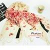 ผ้าพันคอแฟชั่นลายดอก Sagura : สีชมพูพื้นขาว CK0151