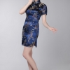ชุดกี่เพ้าพร้อมส่งสีน้ำเงินคอจีนลายมังกร ไซส์ M / L / XL