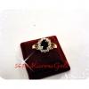 แหวนพลอย ล้อมเพชร gold plated 2microns