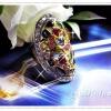 แหวนพลอยนพเก้าล้อมเพชร/gold plated 5microns/white gold plated