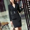 ชุดสูทผู้หญิงแขนสั้นพนักงานออฟฟิต เสื้อสูทมีปกสีดำ พร้อมกระโปรงสีดำ