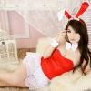 ชุดคริสมาสต์ซานต้าเกาะอกสีแดงกระโปรงลูกไม้สีขาวสวยมากค่ะ