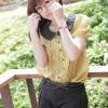 """""""พร้อมส่งค่ะ""""เสื้อผ้าแฟชั่นสไตล์เกาหลีราคาถูก Brand Catworld เสื้อสีเหลืองหม่น คอปกสีดำ กระดุมหน้า แขนตุ๊กตา"""