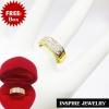 Inspire Jewelry ,แหวนฝังเพชรCZ งานจิวเวลลี่ ฝังล็อคหรือฝังสอด เรียงสองแถว ตัวเรือน หุ้มทองแท้ 24K สวยหรู พร้อมกล่องกำมะหยี่