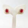 Inspire Jewelry ต่างหูพลอยทับทิมหลังเบี้ยล้อมเพชรสวิส งานจิวเวลลี่ gold plated