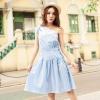 """size M """"พร้อมส่ง""""เสื้อผ้าแฟชั่นสไตล์เกาหลีราคาถูก Brand Weiweimei เดรสสีฟ้าอ่อน แขนกุด ไหล่เฉียง เอวรูด ไม่มีซับใน"""