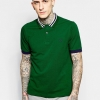 (พรีออเดอร์) Fred Perry Polo Shirt with Bomber Collar Stripe Slim Fit