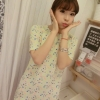 """""""พร้อมส่ง""""เสื้อผ้าแฟชั่นสไตล์เกาหลีราคาถูก เดรสลายกระเบื้องโมเสค ปลายหยัก ผ้าหนา ซิปหลัง ไม่มีซับใน -สีเหลืองสะท้อนแสง"""