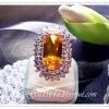 แหวนพลอยบุษราคัมล้อมเพชร/gold plated 5microns/white gold plated
