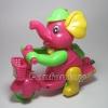 ช้างน้อยปั่นจักรยาน เชือกดึง วิ่งได้ สีชมพู