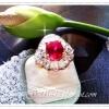 แหวนพลอยทับทิมล้อมเพชร/gold plated 5microns/white gold plated