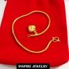 Inspire Jewelry ,สร้อยข้อมือลายกระดูกงูกลมขัดเงา ห้อยหัวใจทองตอกลาย ยาว 16.5cm. เส้นขนาด50 สต.พร้อมถุงกำมะหยี่