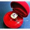 แหวน พลอยสี่เหลี่ยมViolet shapphire ขั้นเรือนเงิน 92.5 ฝังเพชรสวิสน้ำดีที่สุด หุ้มทองแท้ 100% หนา 5ไมครอนเต็ม