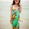 ผ้าสายเดี่ยวคลุมชายหาดลายดอกไม้ Blossom : สีเขียว AB0021