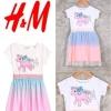 """H&M เดรสยูนิคอน แต่งผ้ามุ้ง (ตำหนิสกรีนแตก) 10-12ปี อก 29"""" ยาว 29"""""""