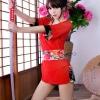 ชุดกิโมโนซีทรูสีแดง ชุดคอสเพลย์ชุดบางเบา ตัวชุดเนื้อผ้าซีทรูสีแดงสดขอบผ้ามันลื่นสีดำลายดอกไม้ สวยมากๆ