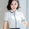 เสื้อเชิ้ตทำงานผู้หญิงแขนสั้น สีขาว ขลิบสีดำ