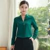 เสื้อทำงานผู้หญิงแขนยาวเรียบหรูดูดี สีเขียว