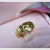 แหวนทองตอกลายขนาดกลาง gold plated 5microns
