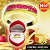 Inspire Jewelry ,แหวนทับทิมชาตั้ม ฝังล็อคเรียงแถว ตัวเรือน หุ้มทองแท้ 100% 24K สวยหรู พร้อมกล่องกำมะหยี่