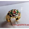 แหวนหัวพลอยเพชรซีก gold plated 0.5microns