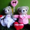 ตุ๊กตาถักไหมพรม หมีคู่แต่งงาน ขนาดสูง 16 นิ้ว <<< ขายแล้วค่ะ >>>