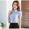 เสื้อเชิ้ตผู้หญิงแขนสั้นสีฟ้า ปกสีขาว เป็นชุดยูนิฟอร์ม ชุดทำงานพนักงานออฟฟิต