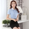 เสื้อเชิ้ตผู้หญิงแขนสั้น สีฟ้า เป็นชุดทำงานยูนิฟอร์ม ชุดพนักงานออฟฟิต