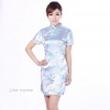 SIZE S / M / L / XL / XXL ชุดกี่เพ้าพร้อมส่งสีฟ้า คอจีนลายดอกขาวนกยูงสวยมากๆ
