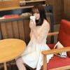 """size L""""พร้อมส่ง""""เสื้อผ้าแฟชั่นสไตล์เกาหลีราคาถูก เดรสสีขาวแขนกุด ตัวเสื้อเย็บคลุมทับด้วยผ้าลูกไม้แขน3ส่วน กระโปรงบานๆ ซิปหลัง ไม่มีซับใน -สีส้ม"""