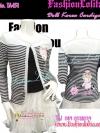 งานเกาหลี TA451:Dol Applique Cardigan: ใหม่! เสื้อคลุมคาร์ดิแกน ลายขวางสุดฮิตแขนยาว แต่งตุ๊กตาที่อกและด้านหลังเสื้อเป็นแอพพลิเก้ น่ารักสุดๆ