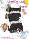 ก๊อปงานChloe' : Magic Dress: DB786 ใหม่! ชุดแซก/เดรสผ้าชีฟองหรูมากเนื้อผ้ามีดิ้น แขนสามส่วนคอสี่เหลี่ยม แต่งลูกไม้ สีดำมีซับใน