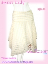 #มีเสื้อ-กระโปรงเข้าเซ็ท# เชียร์แบบตัดส่งนอกขายดีมาก SB134 Sweet Skirt กระโปรงผ้าคอตตอนอย่างดี ลายตารางสีหวาน ชายแหลม Cream