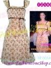 # # FZS0535:: สไตล์นางแบบลงทีวีพูล::Angel Sweet DresSใหม่! แบบมาช่า แซคแขนระบายผ้าชีฟองเนตลายดอกหวานผูกริบบินใต้อกเจ้าหญิง โทนขาวทอง