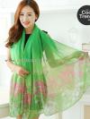 ผ้าพันคอลายทุ่งดอกไม้ Flower Garden : สีเขียว ผ้า Viscose size 180x90 cm
