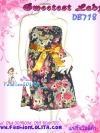 #หมด#ใส่ไปงานสวยหวาน DB718 เดรสเกาะอกผ้ามัสลินลายดอกสวยดูดี ดีเทลเก๋ ชายผ้าระบายเฉลียงสองชั้น พริ้ว พื้นดำเก๋ ผูกโบซาตินสวย