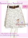 พร้อมเข็มขัดเก๋ ถอดแยกใส่ได้ แบบCop Seneda SB150 Scent Skirt กระโปรงย้วยลายFlower line พิมนูน ทรงสวย ผ้าคอนตอน เฉดขาว S