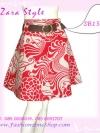 #หมด#พร้อมเข็มขัดเก๋ ถอดแยกใส่ได้ แบบCop Zara SB158 Scent Skirt กระโปรงย้วยลายดอกไม้กราฟฟิก ทรงสวย ผ้าคอนตอน เฉดขาวแดง