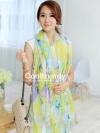 ผ้าพันคอวินเทจ Pastel scarf สีเหลืองม่วง - ผ้าพันคอ Viscose - size 180x110 cm