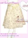 สวยหวาน SB153 Scent Skirt กระโปรงย้วยระบายลายดอกไม้ผ้านอก ทรงสวยทรงระบายชั้นๆเอวแต่งโบ เฉดครีม