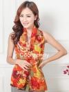 ผ้าพันคอแฟชั่น Retro Graphic : สีส้ม ผ้าชีฟอง size 150x50 cm
