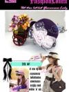 CH108 ใหม่!หมวกปีกสั้นผ้านุ่มมือคล้ายกำมะหยี่สีเข้มสวย แต่งดอกไม้หรู ไอเท็มสาวเก๋สไตล์วินเทจ และสไตล์สาวญี่ปุ่น/เกาหลี สีม่วงเข้ม