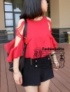 [พร้อมส่ง] ATA373 ใหม่! เสื้อชีฟองสีแดงสวยสด แขนเก๋ สายสานไขว้น่ารักใส่สบายเหมาะกับซัมเมอร์ #464