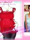 #หมด# TB127X::สไตล์นางแบบ นุ่นห้ามพลาด::Angel~Sweet ใหม่! แบบมาช่า เสื้อมีบ่าระบายผ้าชีฟองผ้าพื้นสีแดงพลัม อกย่น ระบายเป็นชั้นๆ สีขาว-แดงพลัม