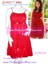 #หมด# ใหม่ สุคนธวา FZS2267 ::สไตล์นางแบบ ลงนิตยสารทีวีพูล::CharMer PlaiN DresS ใหม่! แซคผ้าชีฟองอกย่นเจ้าหญิงระบายเป็นชั้นริบบินซาติน สีแดงพลัมเด่นสวย