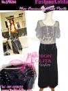 ไซส์36 [เอาใจสาวอวบ] LPB266-36 Wide Pants กางเกงขาบาน/กางเกงกระโปรง เอวสูงเก็บหน้าท้องดีสวยผ้านอกไม่ต้องรีด สีดำ